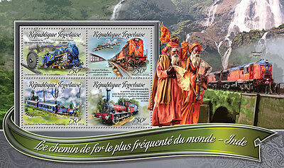 Togo 2016 MNH Busiest Trains in the World India 4v M/S Railways Stamps