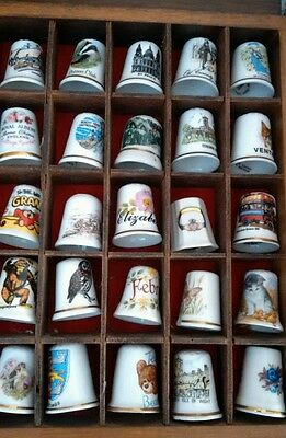 Set of 25 Assorted Bone China Collectable Thimbles in Wooden Hanging Case