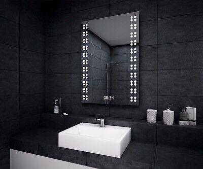 LED ILLUMINATED BATHROOM MIRROR | Shaver | Demister | LED Clock-middle | Sensor