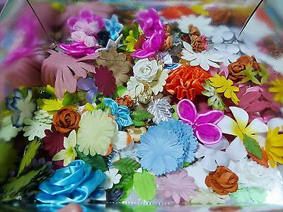 Over 200 Assorted Fabric Paper Flowers Leaves For Craft, Scrapbooking