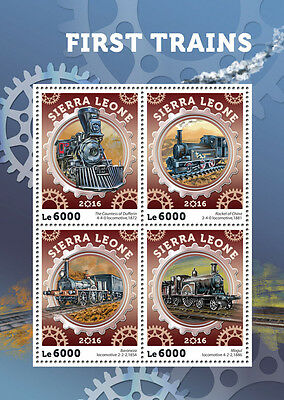 Sierra Leone 2016 MNH First Trains Steam Engines Locomotives 4v M/S Stamps