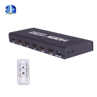 ELETTRONICA HDMI 4x2 Matrix Switcher / Splitter with Remote Controller, Support