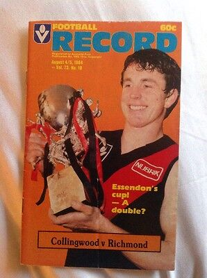 AFL VFL Football Record Collingwood v Richmond Aug 1984 Aussie Rules