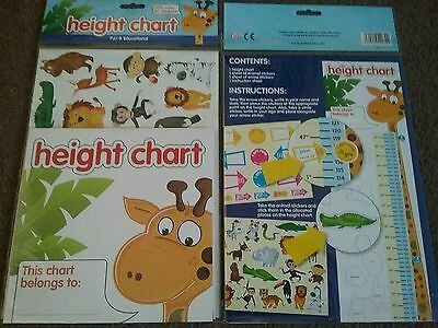 Kids Height Chart with 40 Stickers Jungle Animals Theme Brand New And Sealed