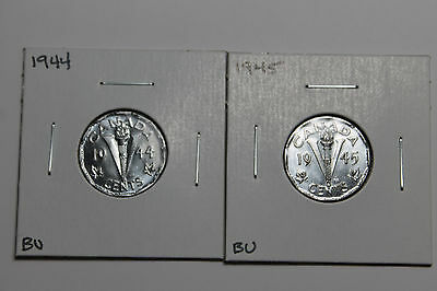 1944 &1945 BU Canadian 5 cent coins