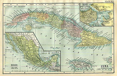 Cuba Philippines Map Antique 1903 Philippine Islands Color Wall Decor
