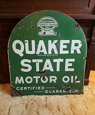 1932 Quaker State Motor Oil Sign. Porcelain. Double sided. 29inx26.5in