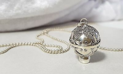 STERLING SILVER Hearts Harmony Chime Ball Pendant 16mm w/Chain
