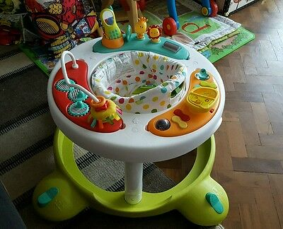 White & Green Baby Walker with Music & Toys by Mothercare