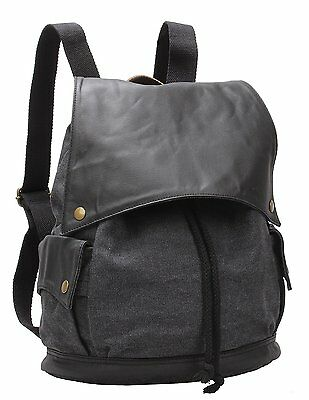 Canvas Leather Drawstring Bucket Backpack Small School Travel Shoulder Bag For