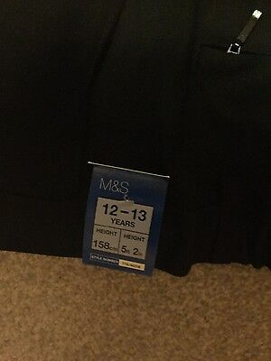 marks and spencer black boys school trousers age 12-13 bnwt