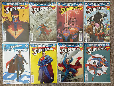 Superman Rebirth #1 + 1,2,3,4,5,6,7 Variants (not 6) NM 1st Print DC Super Sons