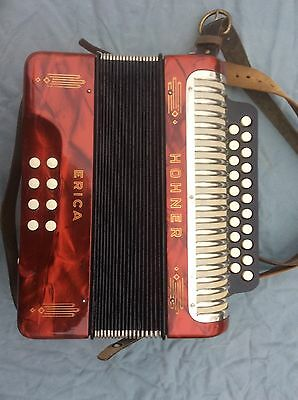 Hohner Erica Knopfakkordeon,super Erhaltung,made in Germany