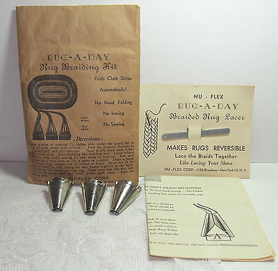 Vintage Braided Rug Making kit 3 shuttle tubes, Lacer needle & Instructions