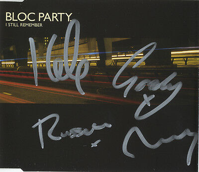 Bloc Party ' I Still Remember ' In Person Signed C.D. Insert Cover