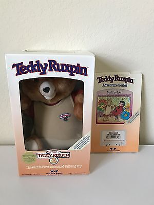 NIB 1985 Original Teddy Ruxpin Talking Bear Toy Comes with 2 Books!