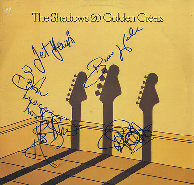 "The Shadows ' 20 Golden Greats 12"" In Person Signed Album Cover '"