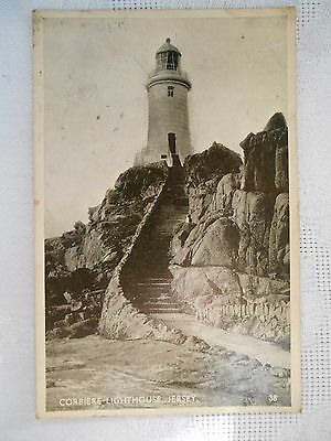 Vintage Real Photo Postcard CORBIERE LIGHTHOUSE JERSEY UNPOSTED EXCEL SERIES