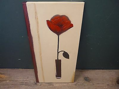 Floral canvas painting mounted on wooden frame 30x60cm ; details unknown B68