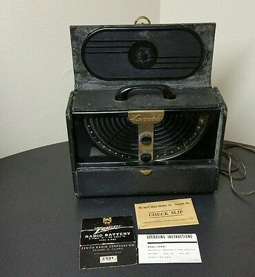 Vintage 40's Zenith 6G001Y Long Distance Tube Radio, Powers On, Instructions