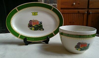 John Deere platter and mixing popcorn bowl