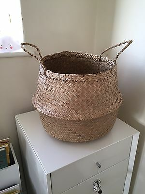 Seagrass Belly Basket Storage Toys Laundry Home Panier Boule Natural Sea Grass