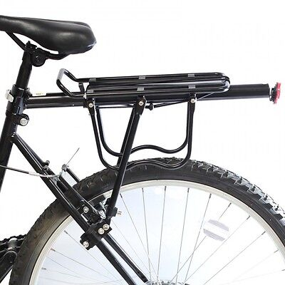 PedalPro Aluminium Rear Bicycle Pannier Rack with Reflector, black