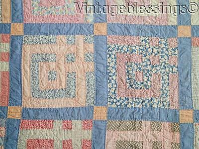 """Vintage 30s Country Farmhouse Feedsack Blue QUILT 81"""" x 67 Lovely!"""
