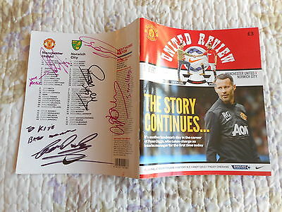 Signed Programme Manchester United V Norwich 2014 Van Persie Smalling