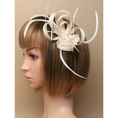 Cream Fascinator on Headband/ Clip-in for Weddings, Races and Occasions-5903