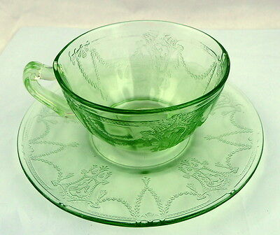 Cameo Green Glass Cup and Saucer Hocking Depression