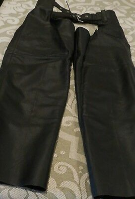 Unisex Leather Barney's Brand Motorcycle Chaps Mens Womens Biker, Small, NICE