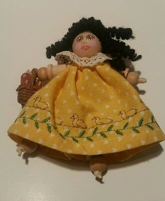 Handmade Doll Wooden Beaded Threaded Sewing Miniature Mini Ornament