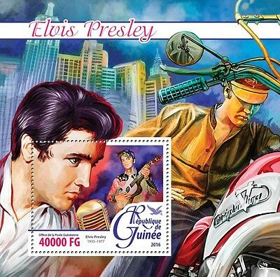 Guinea 2016 MNH Elvis Presley 1v S/S Motorcycles Music Celebrities Stamps