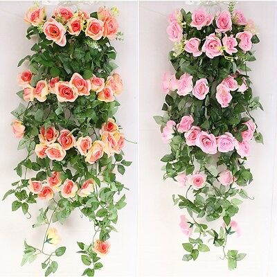 2.4m long Silk Rose Flower Ivy Vine Leaf Garland Wedding Party bouquet Popular