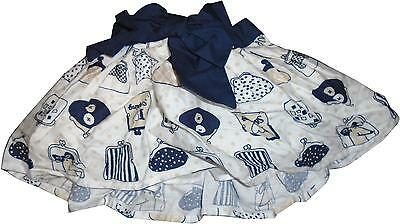 USED Girls Next Navy Bow & White Decal Skirt Size 6-9 Months (CH.E)