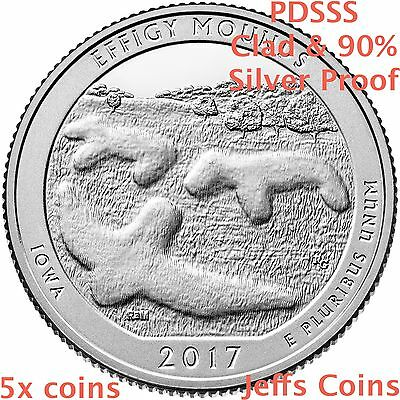2017 PDSSS Effigy Mounds National Monument Quarter Mint Clad & 90% Silver Proof