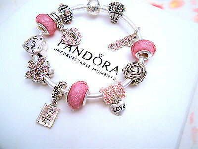 Authentic Pandora Silver Bangle Bracelet With Pink Crystal Love European Charms.