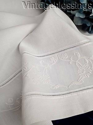 "Large Luxurious Embroidered Antique French Linen Towel 43"" x 26 1/2"""