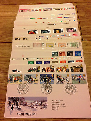 Job Lot of 54 UK GB FDC's First Day Covers from 1981 to 1990 Lot #A143