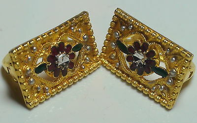 VINTAGE! ESTATE 14K SOLID YELLOW GOLD EARRINGS,LENGTH 19.0 x 11.0,6.85 gram.