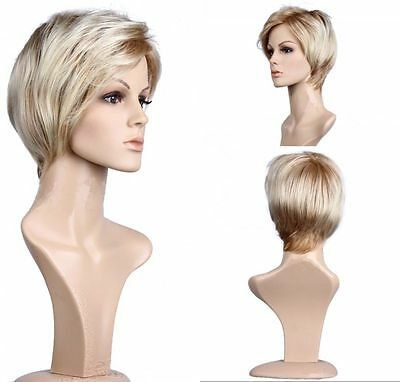 Blond clair Femmes Cheveux Perruque Court Droit Noël Cosplay Party Full Wig 28cm