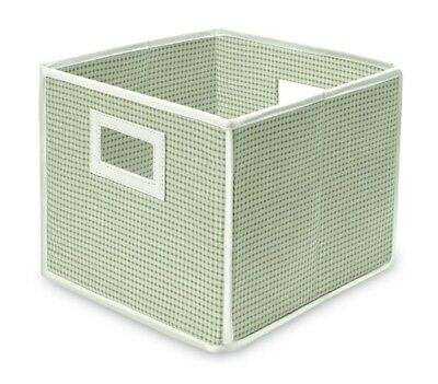 Folding Lightweight Fabric Storage Basket Cube Sage Green Gingham Set Of 2 NEW