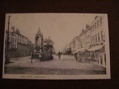 Early postcard, Maidstone High Street showing Tram by the Victoria Memorial