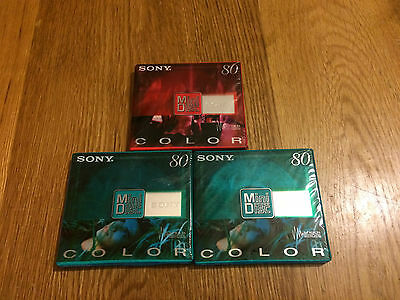 SONY 3 X Mini Disc COLOR 80 mins each 2x Green & 1x Red BRAND NEW & SEALED