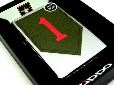 ZIPPO Brushed Chrome US ARMY 1st Infantry Windproof Lighter NEW! 29182