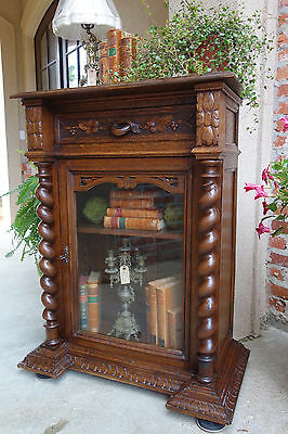 Antique French Carved Oak Cabinet Bookcase Display Stand BARLEY TWIST