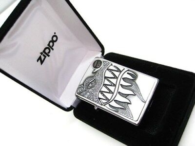 ZIPPO Full Size Brushed Chrome DRAGON Teeth Classic Windproof Lighter! 28969