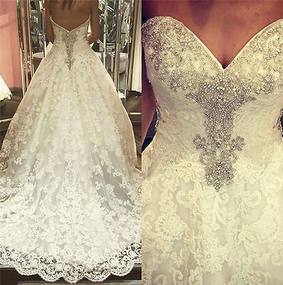 New Sexy Beaded Lace A-Line Wedding Dress Bridal Gown Custom Made Plus Size 2-28