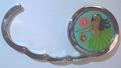 Hawaiian Hula Wahine Foldable Retractable Purse Bag Handbag Hook Hanger Holder